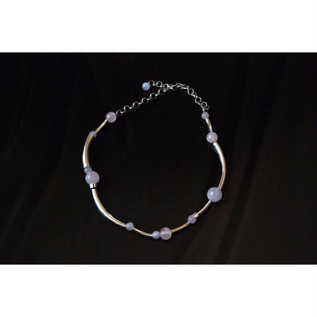 """ORBIT"" CHOKER -  SILVER / ROSE QUARTZ"