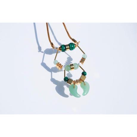 Magatama Twin Necklace  - GREEN