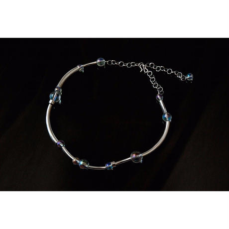 """ORBIT"" CHOKER -  SILVER / RAINBOW CRYSTAL"