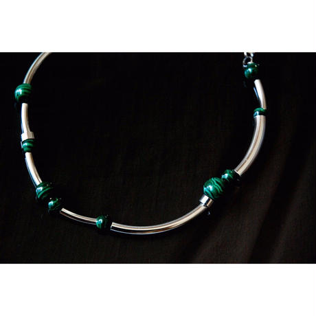 """ORBIT"" CHOKER  -  SILVER / MALACHITE"