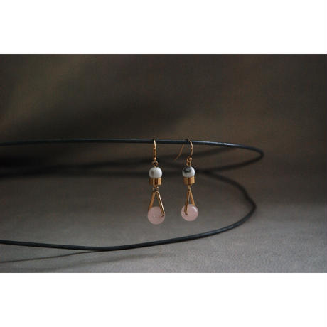 """PARTICLE"" EARRINGS  -  ROSE QUARTZ x HOWLITE"