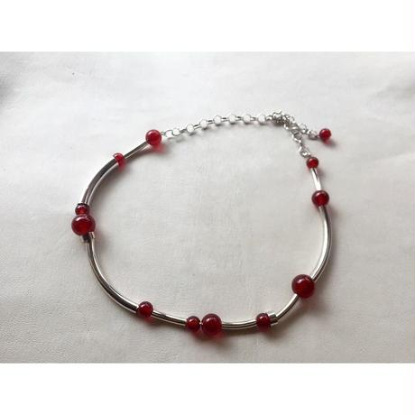 Orbit CHOKER - RED AGATE  x SILVER