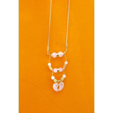 Magatama Twin Necklace  - PALE PINK