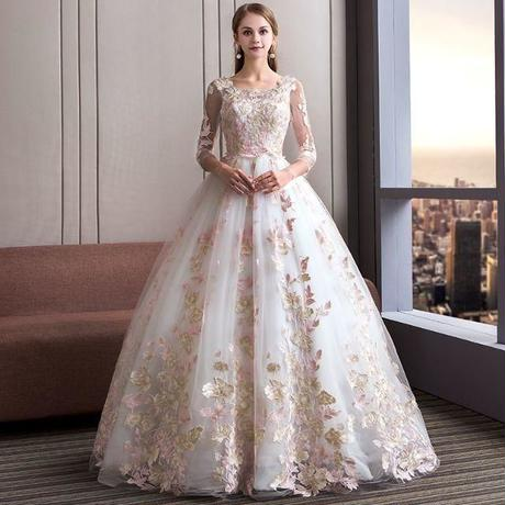 379b815f64148 ピンク×ホワイト 素敵なウエディングドレス・カラードレス 結婚式・ステージ ドレスワンピース