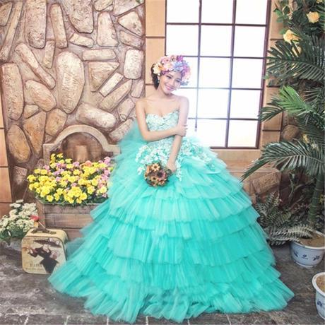 ミントグリーン、  ウェディングドレス   素敵!   ドレスワンピース結婚式、発表会、演奏会、パ―ティ