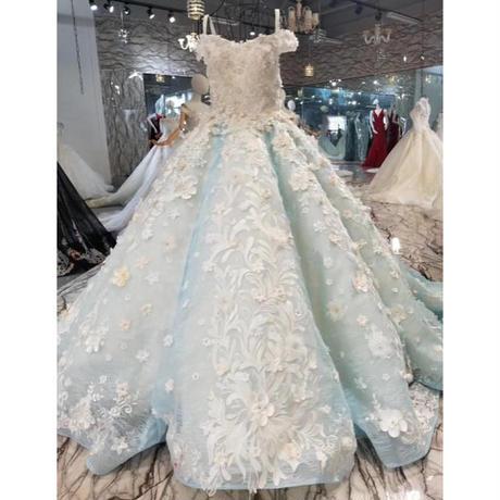 水色、レース花、豪華なウェディングドレス          花嫁ドレス ウェディングドレス 二次会ドレス 花嫁 お呼ばれドレス 結婚式 二次会 ドレス 花嫁 ロングドレス