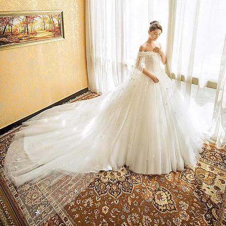 王室     超高級トレーン長いウェディングドレス    トレーン    ドレスワンピース結婚式、発表会、演奏会、パ―ティ