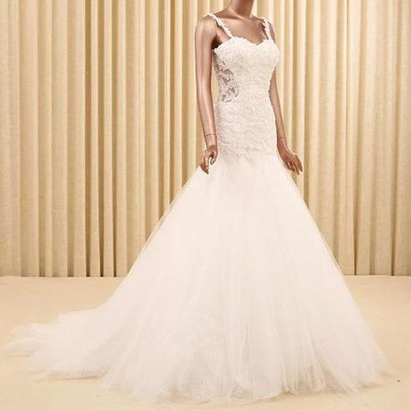 新品ウェディングドレス    トレーン  マーメイドライン    ドレスワンピース結婚式、発表会、演奏会、パ―ティ