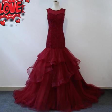 高級マーメイドウェディングドレス、トレーン付け   ドレスワンピース結婚式、発表会、演奏会、パ―ティ