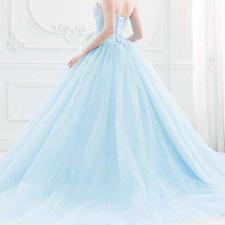 3a2393dd83e9e 人気バレリーナのカラーウェディングドレス 青 水色 ピンク ドレスワンピース結婚式、