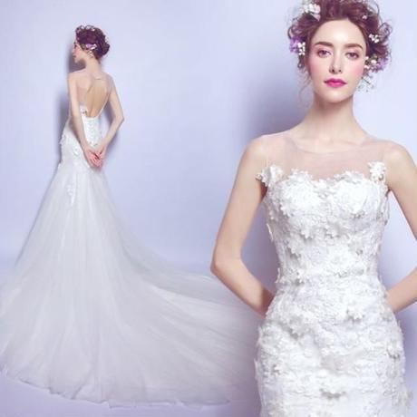 結婚式 ウエディングドレス トレーン マーメイド    マーメイドライン    ドレスワンピース結婚式、発表会、演奏会、パ―ティ