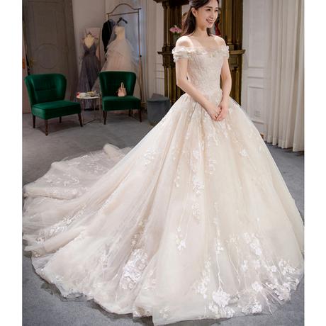 ホワイト 高級ウエディングドレス トレーン ファスナー付き             ドレスワンピース結婚式、発表会、演奏会、パ―ティ