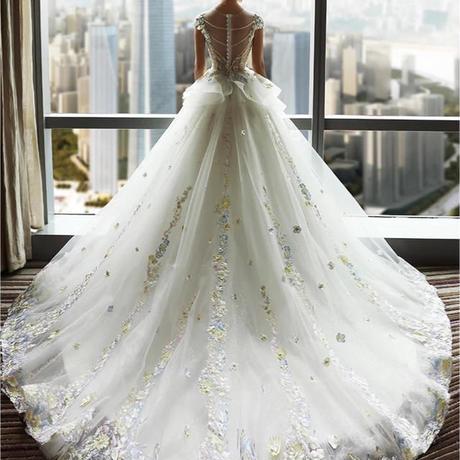 豪華ウェディングドレス    トレーン     花嫁ドレス ウェディングドレス 二次会ドレス 花嫁 お呼ばれドレス 結婚式 二次会 ドレス 花嫁 ロングドレス