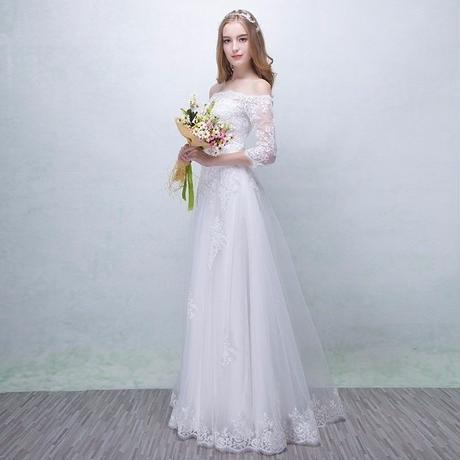 ウエディングドレス*スレンダー*七分袖     ロング    ドレスワンピース結婚式、発表会、演奏会、パ―ティ