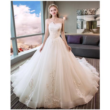 優雅シャンペン ウエディングドレス 編み上げ トレーン   ホワイト/シャンペン。 結婚式    ドレスワンピース結婚式、発表会、演奏会、パ―ティ