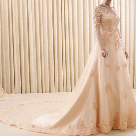 新品カラードレス    長袖   トレーン ロングドレス     セクシー     優雅!    ドレスワンピース結婚式、発表会、演奏会、パ―ティ