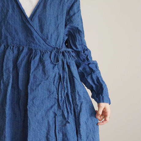17-0019 French Linen INDIGO Dress / AQUA BLUE