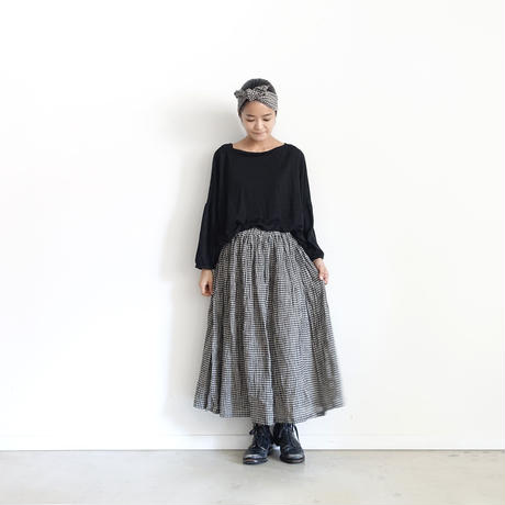 17-0011 Gingham Skirt / BLACK