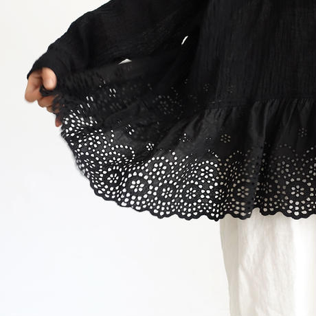 19-0045 Linen Lace Pullover / BLACK