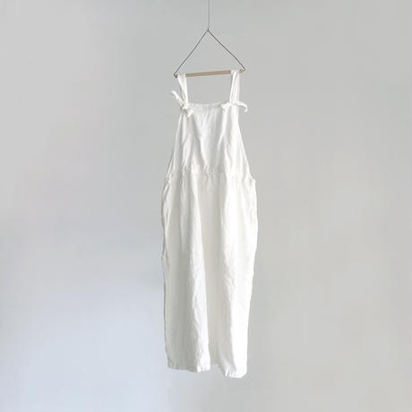 17-0016 Linen Canvas Apron Dress  /  WHITE