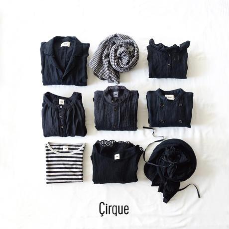 17-0017 Linen Henley Pullover / BLACK