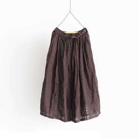 18-0036  硫化染め Linen Lase Skirt / BROWN