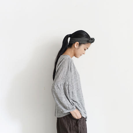 18-0043  Linen Puff Sleeve Pullover  / GRAY