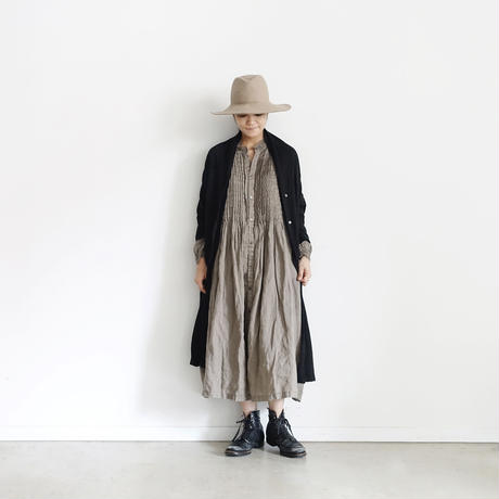 18-0044  Linen Long Cardigan  / BLACK
