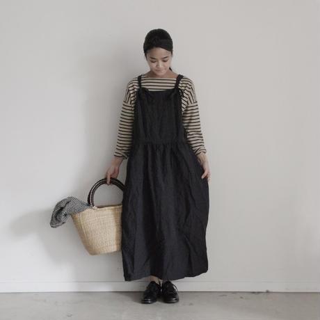 17-0023 Linen Houndstooth Apron Dress / BLCAK