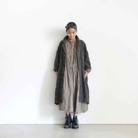 18-0035  硫化染め Linen Lase Dress / MOCHA