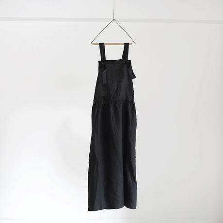 17-0016 Linen Canvas Apron Dress  /  BLACK