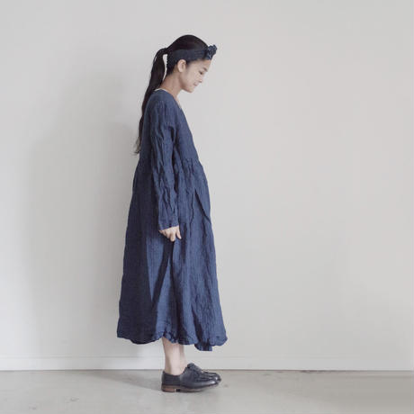 17-0019 French Linen INDIGO Dress / DEEP BLUE