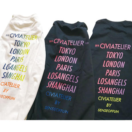 "数量限定 Civiatelier ""The world is yours"" Long Sleeve T-shirts WHT×ORG"