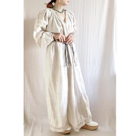 【VINTAGE/ANTIQUE】  linen ecru  embroidery  dress 🇺🇦