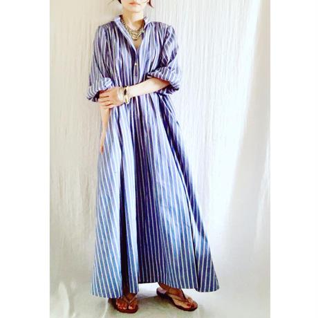 終了しました 予約販売【BOUTIQUE】cotton stripe negligee dress/ BLUE STRIPE TE-3603