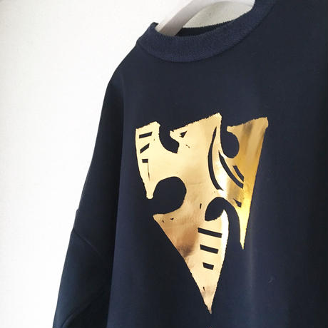 VACANCES  Cardboard knit weave tops NAVY X GOLD