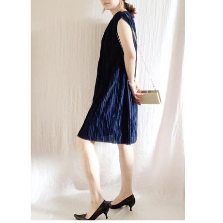【VINTAGE 】 MURIEL RYAN pleats  dress NAVY
