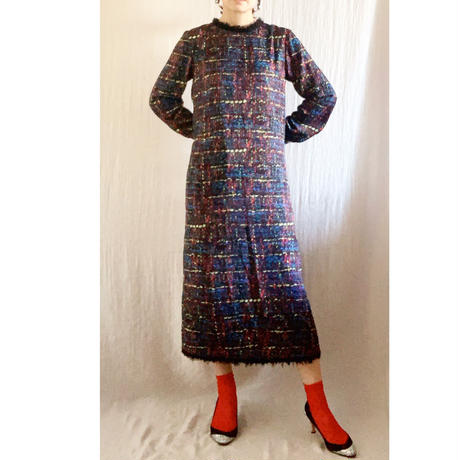 BOUTIQUE tweed print  I-LINE dress/    BROWN(シルク部分RED)