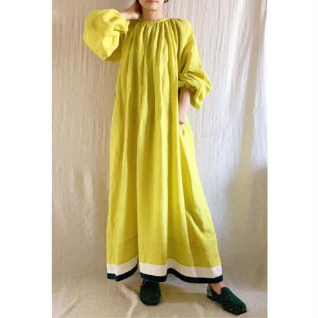 BOUTIQUE  ramie linen  volume dress  TE-3605 LEMON YELLOW