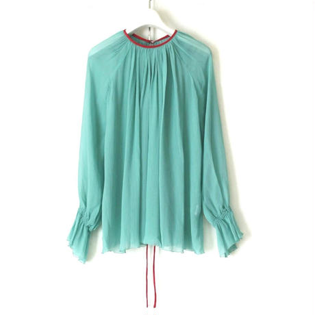 BOUTIQUE silk crepe backribbon  tops TG- 3200 GREEN