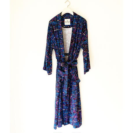 BOUTIQUE tweed print  gown /BLUE(シルク部分NAVY)