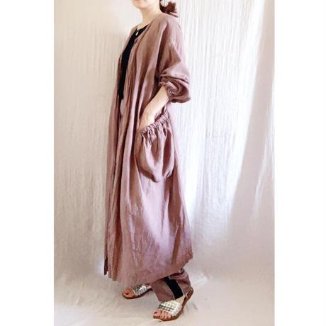 【青山有紀さんX BOUTIQUE 】 linen atelier coat(割烹着) TA-AP-02  AZUKI