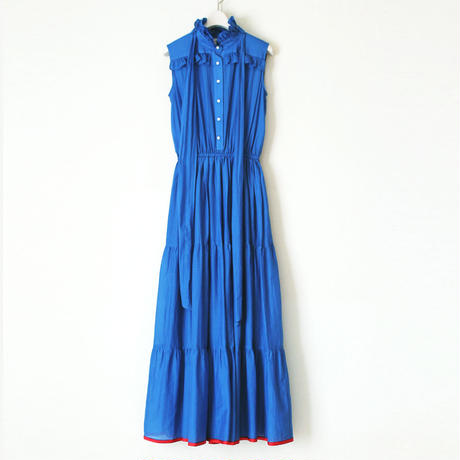 BOUTIQUE cotton silk dot long dress TE-3201 BLUE