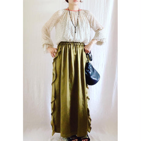 【BOUTIQUE】  silk cotton side frill skirt TC-3600
