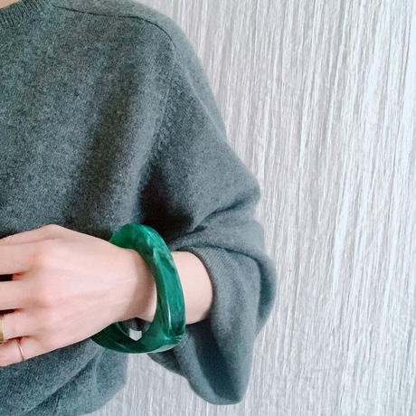 【VINTAGE 】green marble triangle  bangle🇫🇷