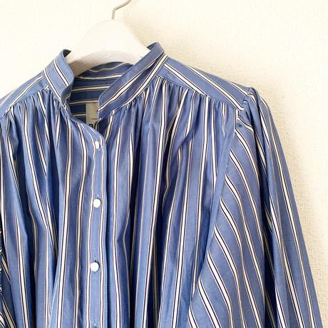 【BOUTIQUE】cotton stripe negligee dress/ BLUE STRIPE