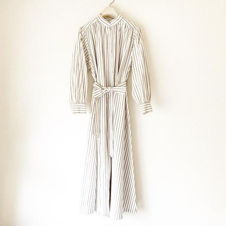 終了しました予約販売【BOUTIQUE】organic cotton stripe negligee dress TE-3603 / ORGANIC COTTON WHITE STRIPE