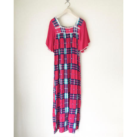 VINTAGE  check long dress  PINK