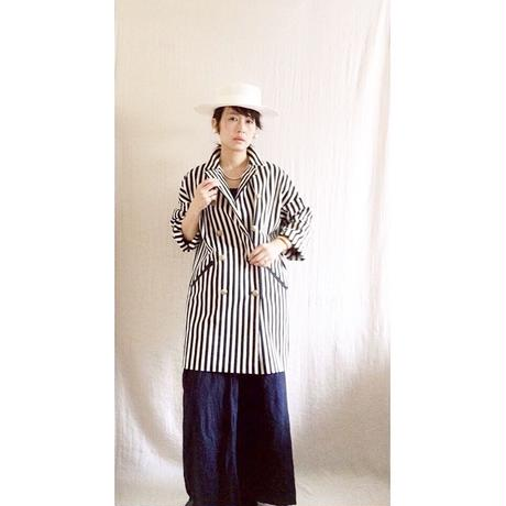BOUTIQUE stripe coat TO-2800    OFF WHITE X NAVY