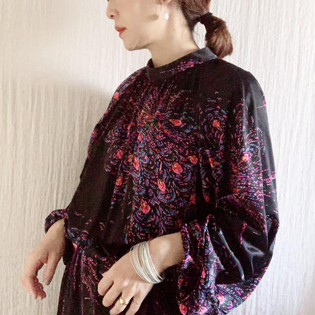 VINTAGE   fireworks print long dress  / BLACK